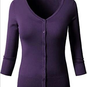 3/4 sleeve purple button up cardigan